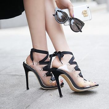 Lace Straps Open Toe Transparent High Stiletto Heels Sandals