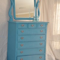 Turquoise Vintage Rococo Dresser with Mirror by TheVelvetBranch