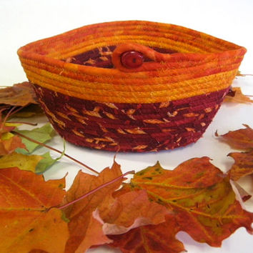 Blazing Autumn Coiled Rope Basket Perfect Candy Dish