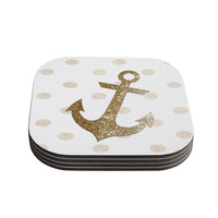 "Nika Martinez ""Glitter Anchor"" Gold Sparkles Coasters (Set of 4)"