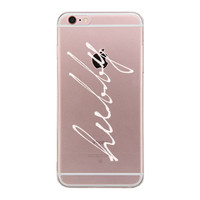 Hubby Cursive Couple Clear Phone Case - Left