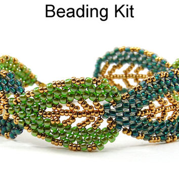 Leaf Bracelet Beading Kit Jewelry Making Fall Autumn Leaves Tutorial Pattern Beaded Bracelets Dark and Light Green Gold #5219