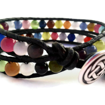 Colorful Bracelet / Multi Color Bead  Bracelet / Celtic Knot / Leather Wrap Bracelet / Cats Eye Jewelry
