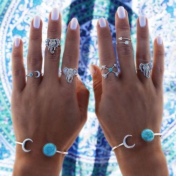 New Hot Bohemian Elephants Ring Retro Moon Arrow Blue Stone Rings Lucky Stackable Midi Rings Set for Women Party Gifts 6pcs/set