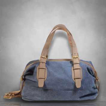 New Genuine Leather and Canvas Messenger Bag Duffel gym Tote Large travel business casual school holdall birthday gift Mens Ladies