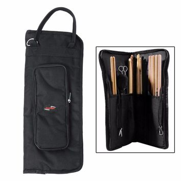 Black Nylon Drumstick Bag Beater Mallet Brush Drum Stick Storage Shoulder Case Bag Holder Pouch Gigbag Durable