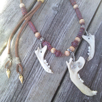 Raccoon Jawbone Necklace,Real Animal Bone Jewelry, Shaman Necklace, Gypsy Warrior Necklace,Real Teeth Fang Tooth Necklace,Boho Jewelry
