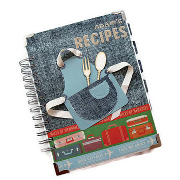 Travel Theme Recipe Book, Personalized Cookbook for Travelers, Personalized Gift For Him, Recipe Journal, Gift For Boyfriend, Gift For Cooks
