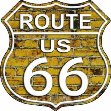 Yellow Brick Route 66 Highway Shield Sign  11 inch  die cut  sign