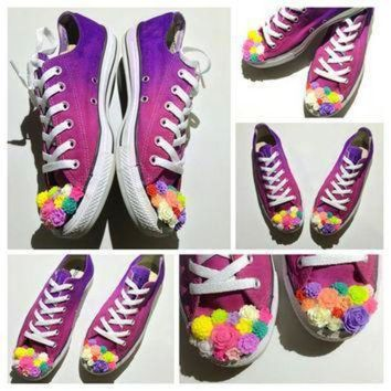DCCK1IN the original flower child ombre tie dye low top custom converse