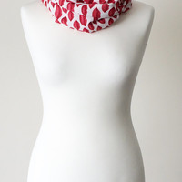 Red Lips Printed Circle Infinity Scarf, Valentines Days Gift,  Lips Jersey Fashion Scarves, Gift Ideas for Her