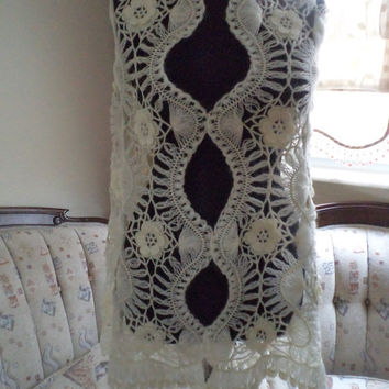 Made to order /GORGEOUS Angora and Mohair Ivory Handmade Crochet Wedding Shawl/ Neckwarmer Wrap / Bridal Lace Hairpin Lace - All Seasons