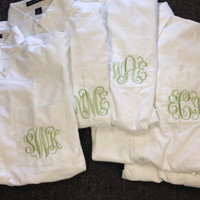 Set of 5 Oversized Monogrammed Bridal Shirt-Perfect for Weddings and Bridemaids