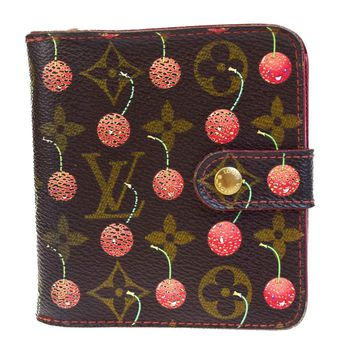 Authentic LOUIS VUITTON Cherry Compact Zip Bifold Wallet Monogram M95005 04EB367