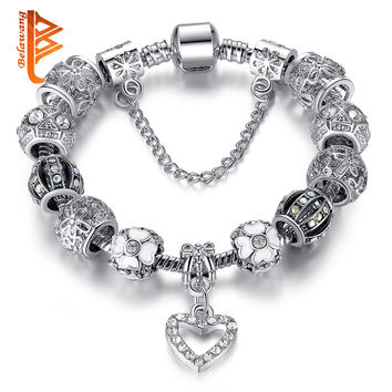 Luxury 925 Tibetan Silver Bead Crystal Heart Charm Bracelet Bangle for Women Fashion Jewelry Original Bracelet Women Pulseras
