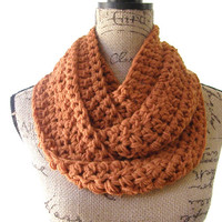 Ready To Ship Burnt Pumpkin Orange Cowl Scarf Fall Winter Women's Accessory Infinity Scarf