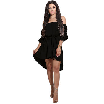 Black Off Shoulder Casual Chiffon Dress
