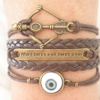 "Combined Bracelet / Evil Eye Bracelet, Disney Inspired Brave Merida Bow Bracelet, ""will there is a way"" Bracelet, Dark Brown Braid"