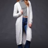 House of Harlow Cozy Duster Cardigan Sweater - Womens Sweater - White - One