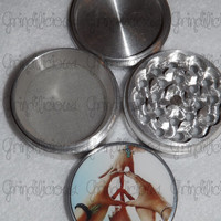 Hand Made Peace Sign 4 Piece CNC Aluminum Pollen Herb Grinder Grinders