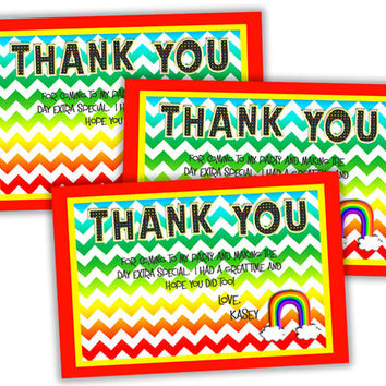 Chevron Rainbow Thank You Cards - Rainbow Birthday Thank You Tags - Girls Rainbow Party Favor Tags - Rainbow Thank You Notes - Girl Party