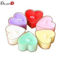 9pcs /box Paraffin heart shaped decorative candles pvc scented romantic candle party christmas wedding decoration