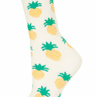 Cream Textured Pineapple Socks