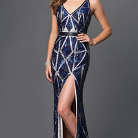 Floor Length V-Neck Open Back Sequin Dress