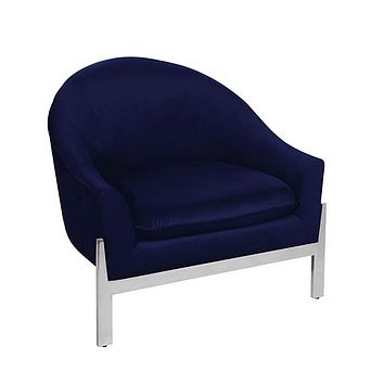 Worlds Away Stark Velvet Barrel Lounge Chair