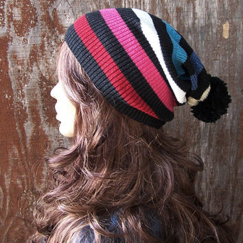 POM POM BEANIE Lightweight multicolor stripe slouch beanie recycled sweater hat slouchy beanie handmade beanie hat upcycled sweater unisex