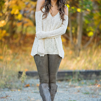 Heart Like Mine Cold Shoulder Sweater (Cream)