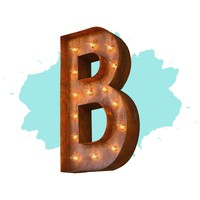 "12"" Letter B Lighted Vintage Marquee Letters (Modern Font/Rustic)"