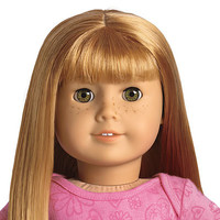 American Girl® Dolls: Light skin with freckles, straight red hair with bangs, hazel eyes