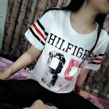 """ Tommy Hilfiger "" Women Fashion Short Sleeve Pure cotton Print Round collar Top"