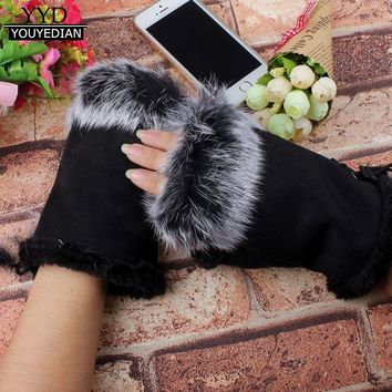 Women Girl Faux Rabbit Fur Wrist Fingerless Hand Winter Warm Gloves Bandage Solid Gloves Female Gorros Mujer Invierno *1106