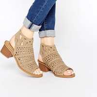 Truffle Collection Honor Laser Cut Sling Bootee Heeled Sandals
