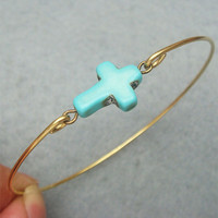 Turquoise Cross Brass Bangle Bracelet by turquoisecity on Etsy