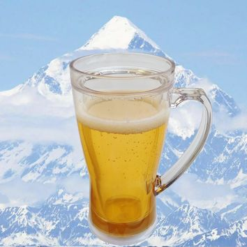 Plain Double Wall Frosty Freezer Ice Beer Mug Clear Ice Insulated Plastic Chillable Beer Filled Illusion Great Gift for Beer Lovers 16oz