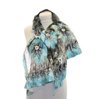 Nuno Felt Shawl OOAK / Nuno felted scarf / Silk and Merino Wool Scarf / black white shades blue and turquoise