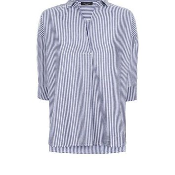 Petite Blue Stripe Step Hem Overhead Shirt | New Look