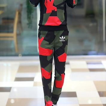 """Adidas"" Women Casual Camouflage Print Long Sleeve Hooded Sweater Trousers Set Two-Piece Sportswear"