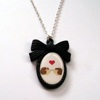 Hedgehog Love Necklace Valentine Cameo by KitschBitchJewellery