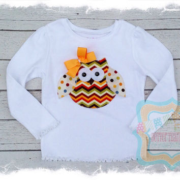 Girls Fall Thanksgiving  Owl Appliqué Shirt-Baby Girl Clothes-Chevron Owl Shirt-Girls Birthday Gift-Owl Birthday-Brother Sister Sets