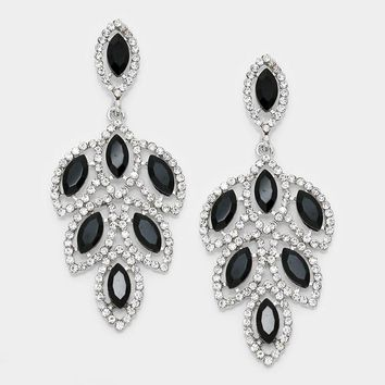 Glass Crystal Marquise Cluster Evening Earrings