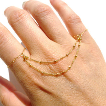 Knuckle Rings, 14kt Gold Filled Chain, Slave Bracelet,14kt Gold Filled Ring Chain, Indian Jewelry, Hand Chain, Belly Dancing Jewelry
