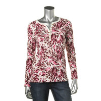Karen Scott Womens Printed Long Sleeves Henley Top