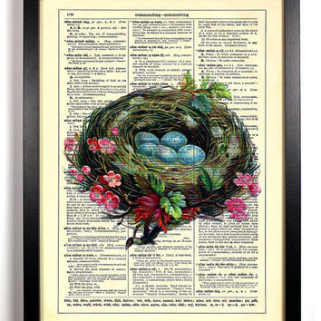 Pretty Birds Nest Repurposed Book Upcycled Dictionary Art Vintage Book Print Recycled Vintage Dictionary Page  Buy 2 Get 1 FREE