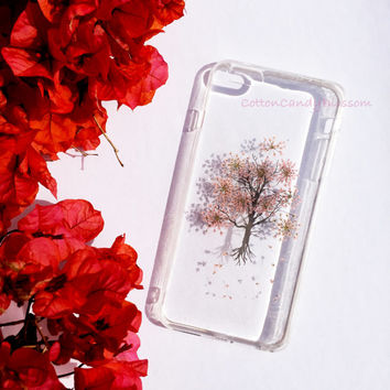 Pink Tree, Pressed flower iPhone 6/6 Plus, Real Flower Samsung Galaxy phone case, Handmade iPhone case, Clear iPhone case, slim soft case