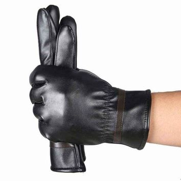 ac PEAPO2Q HOT Sale Winter Mens PU Leather Gloves Black Luvas De Couro Motocycle Punk Rock Warm Luva Motoqueiro #OR