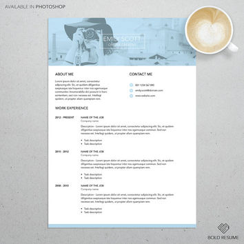 Professional Creative Resume Template for Photoshop, Adjustable colors, Mac or PC, A4, Instant Download